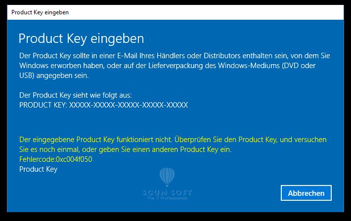 0xc004f050 Windows 10
