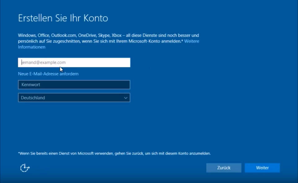 Windows 10 Konto erstellen