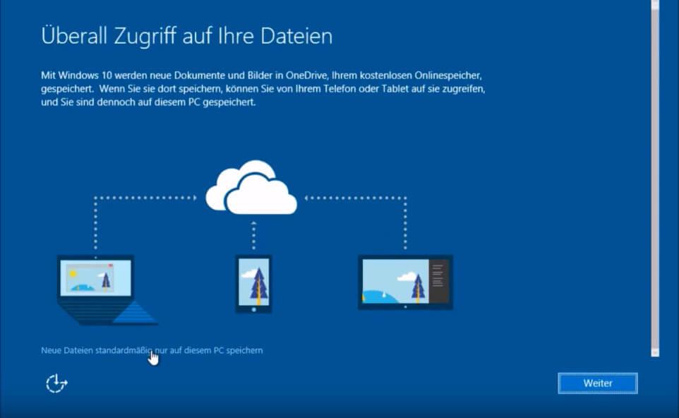 Microsoft Onlinespeicher einrichten