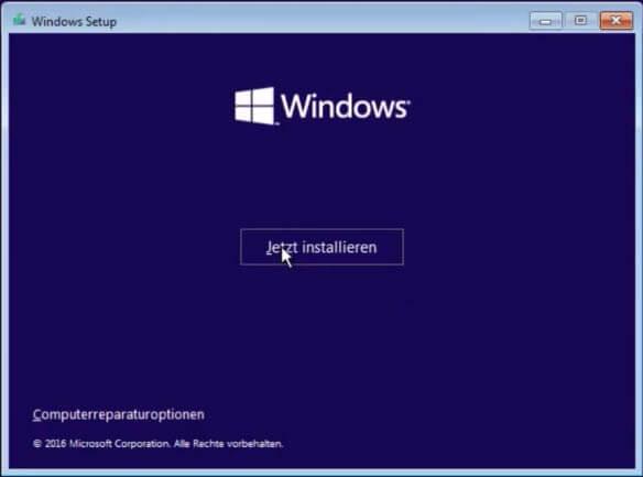 Windows 10 installieren - Start