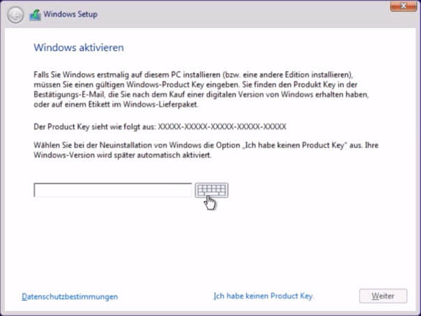 Windows 10 installieren - Product Key eingeben