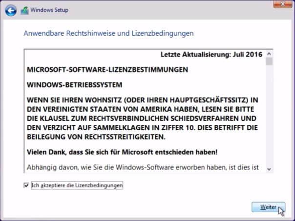 Windows 10 installieren - Lizenzbestimmungen