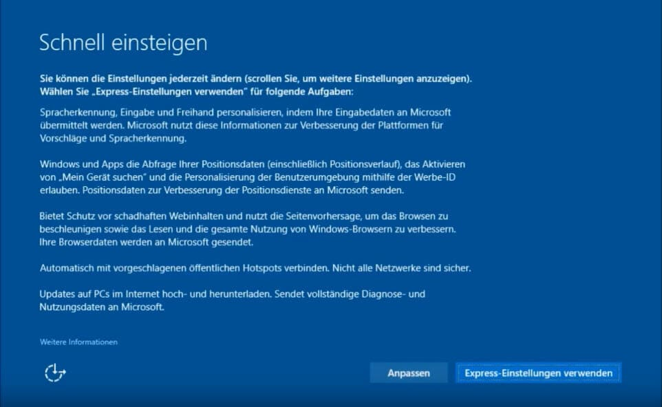 Windows 10 installieren - Express einstellungen