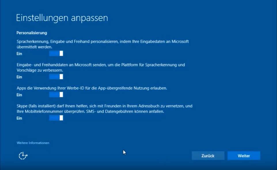 Windows 10 installieren - Einstellungen anpassen