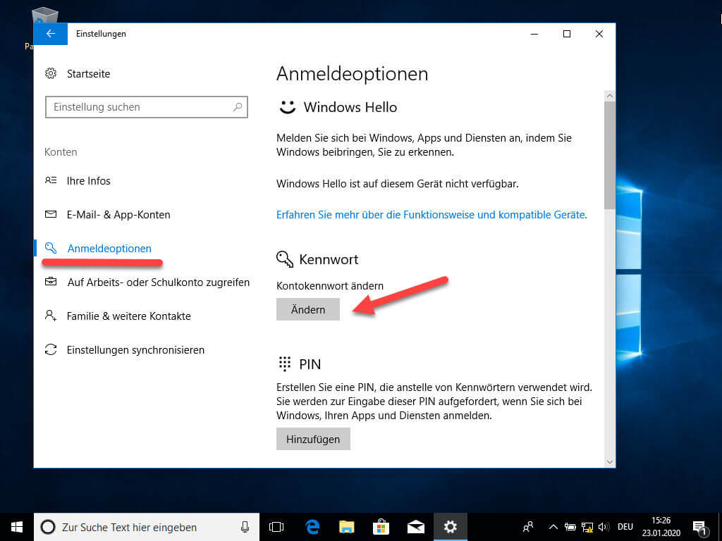 Passwort bei Windows 10 ändern