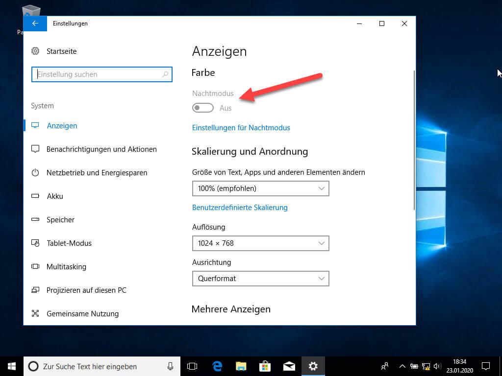 Nachtmodus Windows 10